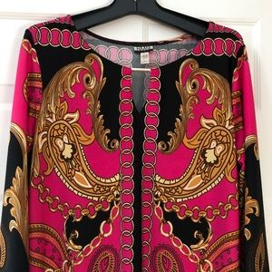 Hanni Straight Patterned Dress With 3/4 Sleeves